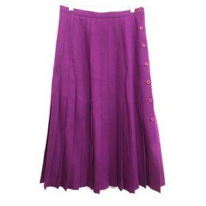 💜 Vintage Violet Wool Blend Pleated Midi Skirt 8